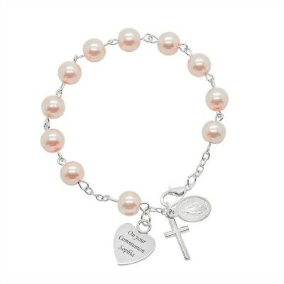 Engraved Rosary Bracelet For Girls First Holy Communion Gift, White Or Pink • 14.99£
