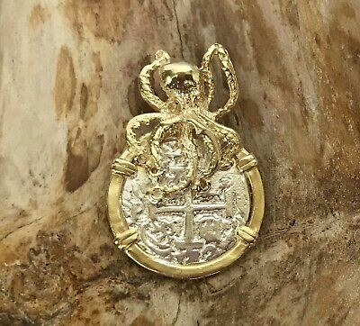 ATOCHA Coin Design Pendant 1600-1700 Octopus Sterling Sunken Treasure Jewelry • 59$