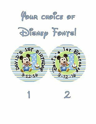$2.99 • Buy 20 Mickey Mouse 1st Birthday Stickers Lollipop Labels Party Favors 2 Inch