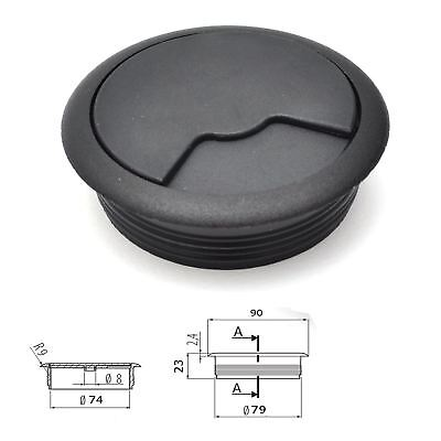 80mm 3 3/16  Black PC  Desk Plastic Grommet Table Cable Tidy Wire Hole Cover • 2.74£