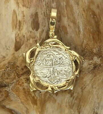 ATOCHA Coin Dolphin Pendant 925 Sterling Gold Overlay Sunken Treasure Jewelry • 49$