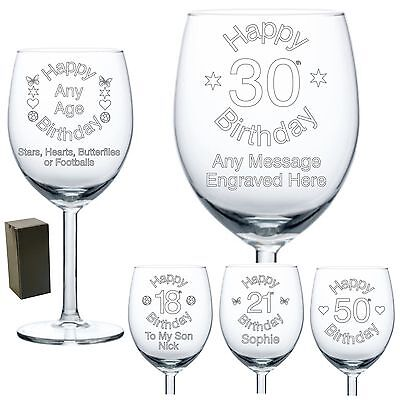 Personalised Wine Glass Engraved Birthday Gifts 18th 21st 30th 50th 60th  • 10.99£