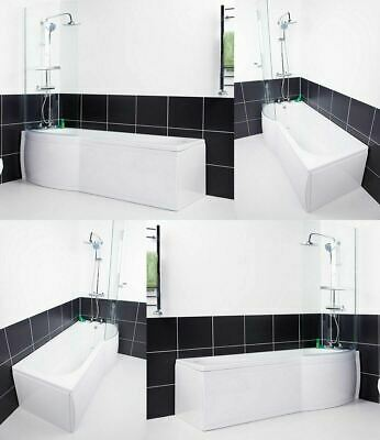 P Shaped Shower Bath Bathroom Left Right Hand Shower Glass Screen & Panel • 319.97£