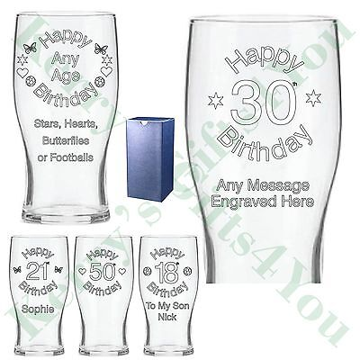 £10.99 • Buy Engraved Pint Glass 16th 18th 21st 30th Birthday Gifts Gift Boxed