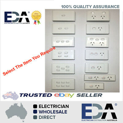 AU8.99 • Buy Power Point Switch GPO Socket Outlet Double 2000 White Single Skirting GPO