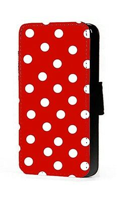 Polka Dots Phone Case Red Background Faux Leather Wallet Flip Card Mobile Case • 11.20£
