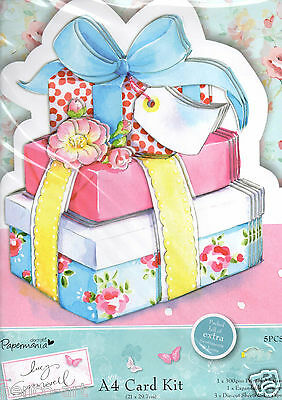 Docrafts Papermania Lucy Cromwell A4 Card Kit Girl Presents Pink Happy Birthday • 4.50£
