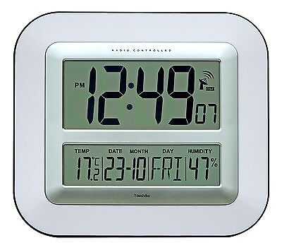 £24.99 • Buy Jumbo LCD Radio Controlled Wall Clock With Temperature And Humidity Display