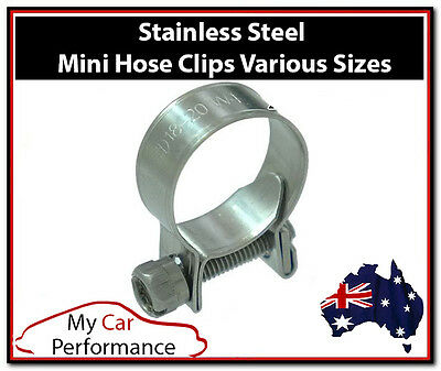 AU13.12 • Buy Performance Mini Fuel Line Hose Clamps Clips Stainless Steel 2 Or 10 Packs