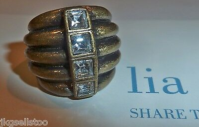 $ CDN22.55 • Buy Nwt/nib - Lia Sophia  Diverge  Ring - Crystals/antiqued Gold - Sz 9 - 2012/$62