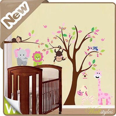 Animal Wall Stickers Owl Monkey Jungle Zoo Tree Nursery Baby Kids Bedroom Decals • 18.89£