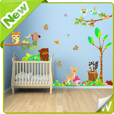 Animal Wall Stickers Owl Jungle Zoo Tree Nursery Baby Kids Bedroom Decals Art • 14.49£