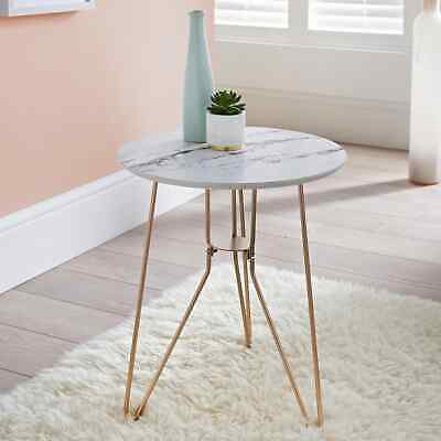 £26.50 • Buy Marble Top Side Table With Gold Metal Legs Vintage Lounge Living Room