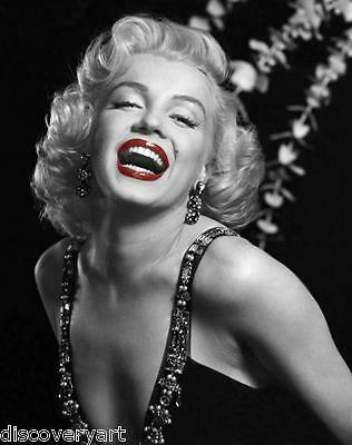 Marilyn Monroe With Red Lips Portrait Canvas Wall Art Movie Poster Print Model • 70£