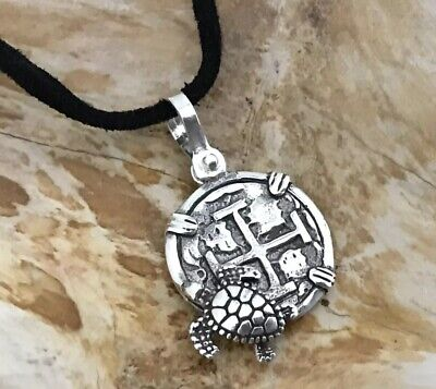 ATOCHA Coin Design Turtle Pendant 925 Sterling Silver Sunken Treasure Jewelry • 25$