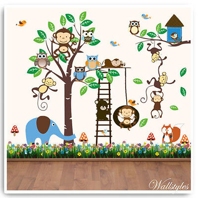 Animal Wall Stickers Owl Monkey Jungle Zoo Tree Nursery Baby Bedroom Decals Art • 22.99£