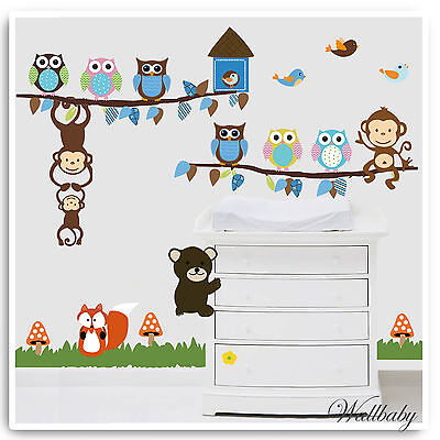 Animal Wall Stickers Owl Monkey Jungle Zoo Tree Nursery Baby Bedroom Decals Art • 18.89£