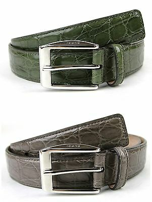 $349.99 • Buy $895 NEW GUCCI Mens Crocodile Belt With Classic Square Buckle 336831 E710n