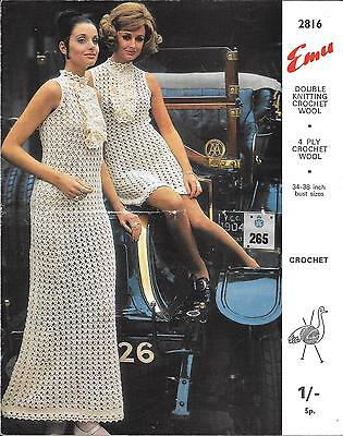 Vintage Mini / Maxi Dress Crochet Pattern, Wedding Dress 4ply DK Emu 2816 1960s • 1.95£