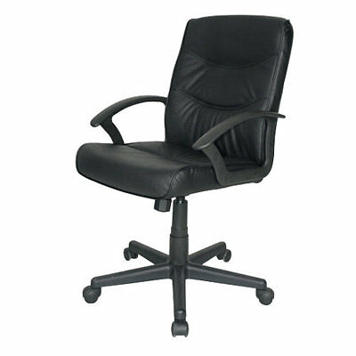 Rio Leather Faced Executive Home Office Business Swivel Computer Chair In Black • 59.99£