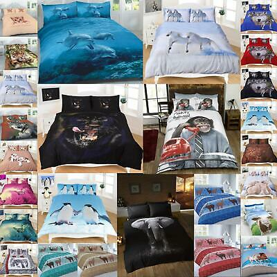 Animal Duvet Cover Sets Double Single King Size 3D Print Christmas Bedding New • 17.99£