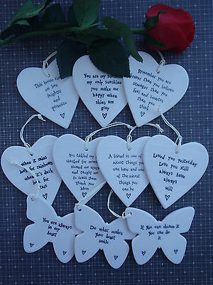 Special Gift Hanging Quote Porcelain Heart Friends Love Wedding Butterfly Braver • 5.49£