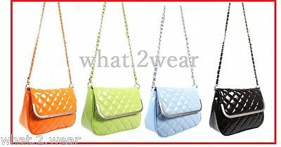 New Quilted Faux Leather Chain Cross Body Handbag Vintage Evening Shoulder Bag  • 5.99£