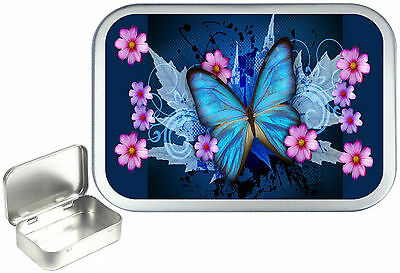 Blue Butterfly,Silver Hinged Tobacco Tin, Sweet Tin. Pill Tin,Pocket, 1oz & 2oz  • 4.50£