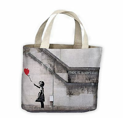 £9.99 • Buy Banksy Girl With Heart Balloon Tote Shopping Bag For Life - Red Balloons