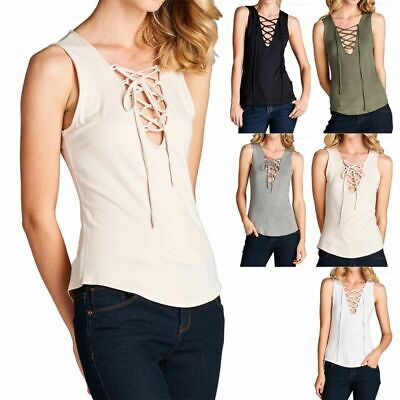 Sleeveless Solid Front Crossed String Tie Tank Top Casual Rayon Spandex S M L • 16.64£