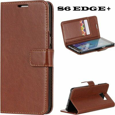 $ CDN9.80 • Buy Samsung Galaxy S6 Edge+ Plus - BROWN Leather Diary Card Wallet Holder Pouch Case