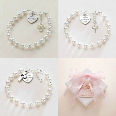 First Holy Communion Bracelets For Girls. Personalised With Any Engraving. • 21.99£