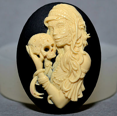 Lady Skull Silicone Mold Cameo Cupcake Polymer Clay Chocolate Resin Fimo Mold • 3.99£