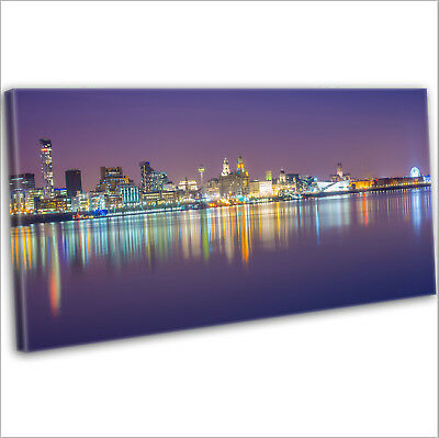 £29.99 • Buy Liverpool Over The Mersey Skyline Panoramic Framed Canvas Wall Art Print