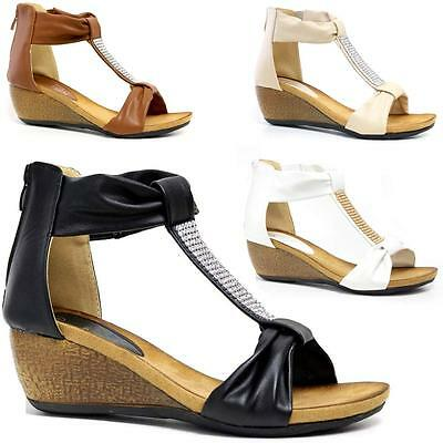 Ladies Wedge Sandals Womens Heels Strappy Summer Dress Party Evening Shoes Size • 14.99£