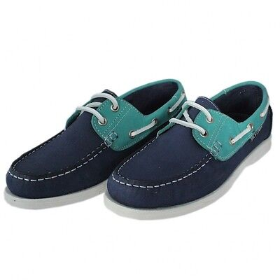 Womens Yachtsman Navy Green Deck Shoes • 33£