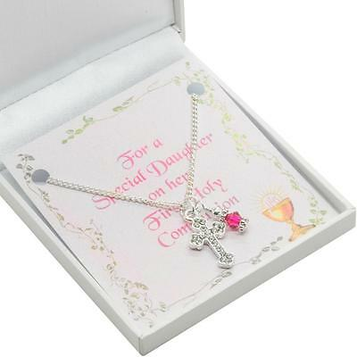 First Holy Communion Day Gift, Birthstone & Cross Necklace For Goddaughter Etc • 10.99£