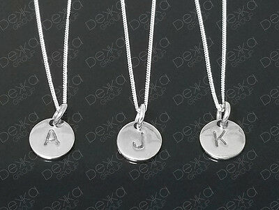 AU19.99 • Buy 925 Sterling Silver Initial Disc Personalised Letter Monogram Alphabet Necklace