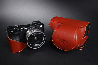 $ CDN84.30 • Buy Genuine Real Leather Full Camera Case Bag Cover For Sony A6300 16-50mm Lens
