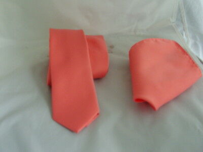 £8.86 • Buy Solid Coral-Salmon Mens Skinny Polyester Tie And Hankie Set -2.5  = 6cm Width