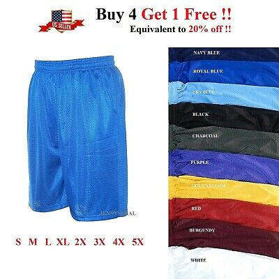 $9.95 • Buy Mens Athletic Jersey 2 Pocket Mesh Shorts Gym Workout Basketball Fitness S-5x