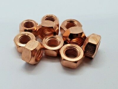 10 X M10 Copper Flashed Exhaust Manifold Nut 10mm Nuts High Temp • 2.75£