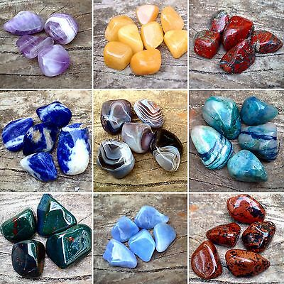 Crystal Tumble Stones  Buy 4 Get 2 FREE 16-26mm Crystals Reiki Polished Stones • 2.49£