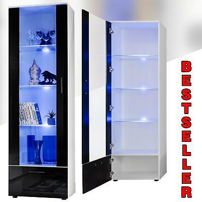 Tall Display Cabinet High Gloss White Glass Shelves Furniture Modern 192cm • 259£