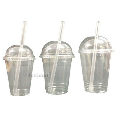 £5.20 • Buy MILKSHAKE CUPS WITH DOMED LIDS AND No STRAWS CLEAR PLASTIC TABLEWARE JUICE GLASS