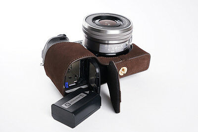 $ CDN71.55 • Buy Genuine Real Leather Half Camera Case Bag Cover For Sony A6300 Dark Brown Open