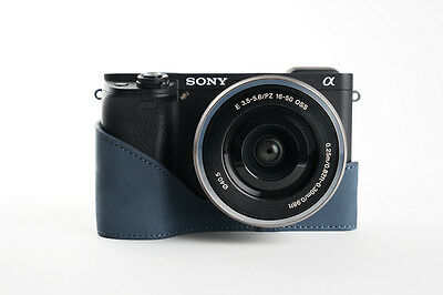 $ CDN46.72 • Buy Genuine Real Leather Half Camera Case Bag Cover For Sony A6300 Blue Color