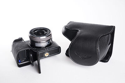 $ CDN91.73 • Buy Genuine Real Leather Full Camera Case Bag Cover For Sony A6300 16-50mm Lens Open