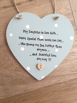 PERSONALISED Daughter In Law Hanging Heart Gift Any Names Dates • 7.99£
