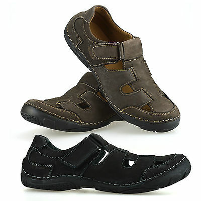 Mens Leather Touch Fasten Walking Summer Beach Mules Gladiator Sandals Shoe Size • 19.98£